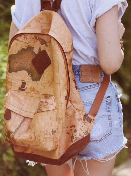 World Map Hipster Backpack | bag, globe, backpack, map, shirt - Wheretoget