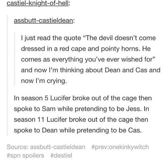 Destiel makes me cry all the time_> this is my sbculture of the ship realm... BUT WHY DOES MY SOCIETY OF FELLOW TRASH HURT SO BAD
