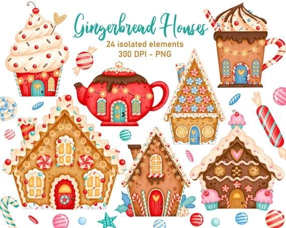 Christmas Gingerbread Houses Clipart Christmas Cookies Etsy Christmas Gingerbread House Gingerbread House Christmas Clipart