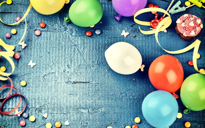 Download wallpapers Happy Birthday, colorful balloons, holiday card, Birthday, cakes, decoration