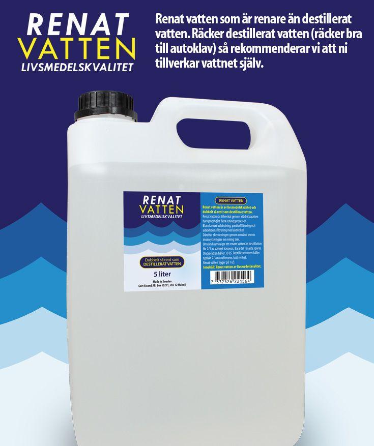 Renat vatten som är renare än destillerat vatten. Räcker destillerat vatten (räcker bra till autoklav) så rekommenderar vi att ni tillverkar vattnet själv.