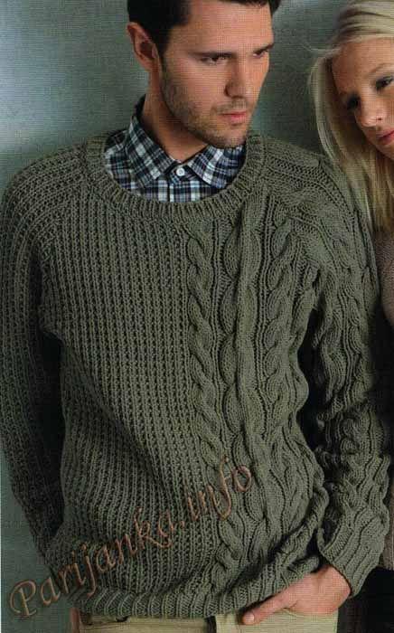Мужской пуловер (м) 19*91 Phildar №3692