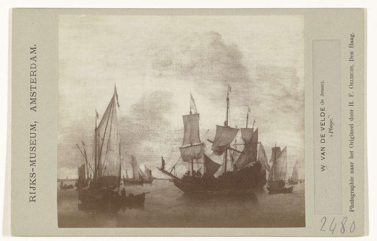 Schilderij Schepen onder de kust voor anker door Willem van de Velde II, H.F. Oelrichs, 1850 - 1880