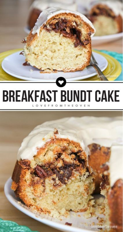 Breakfast Bundt Cake Recipe. So perfect for a brunch! Love the cinnamon, sugar and pecan layer!