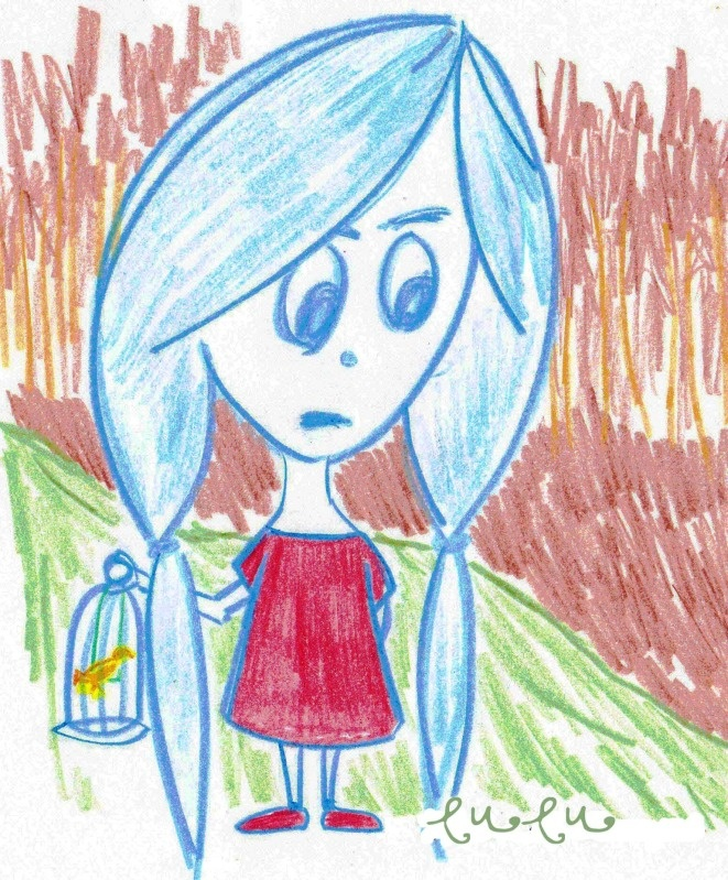 a little girl got lost in the woods after getting some sunshine for her and her bright yellow canary. the woods seem scary for a little girl but our little heroine is brave. she is in deep thought now, careful not to be careless as she was moments ago just before they ended up in the deep woods.
