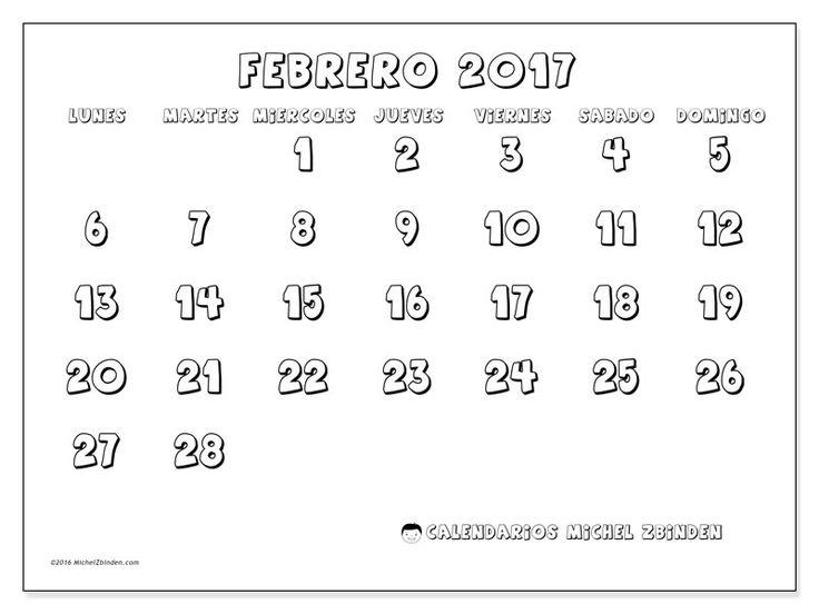 Gratis! Calendarios para febrero 2017 para imprimir