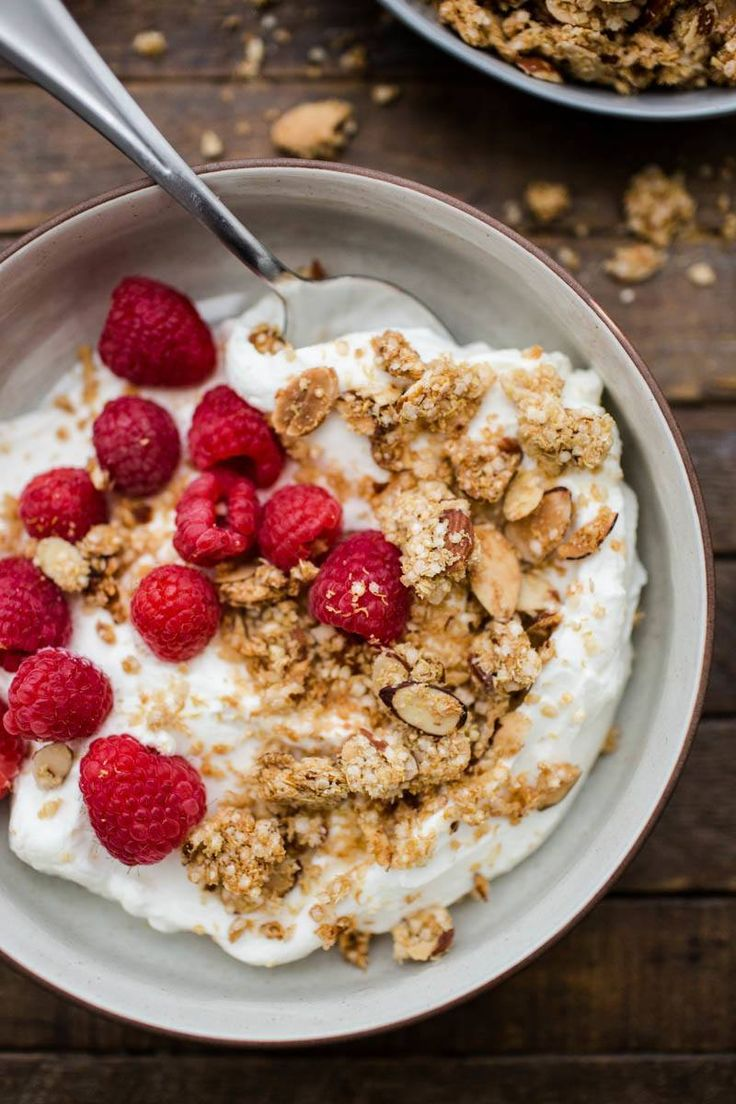 This quinoa granola is made using quinoa flakes and just a bit of maple syrup and oil plus almonds for an added crunch and boost of protein.