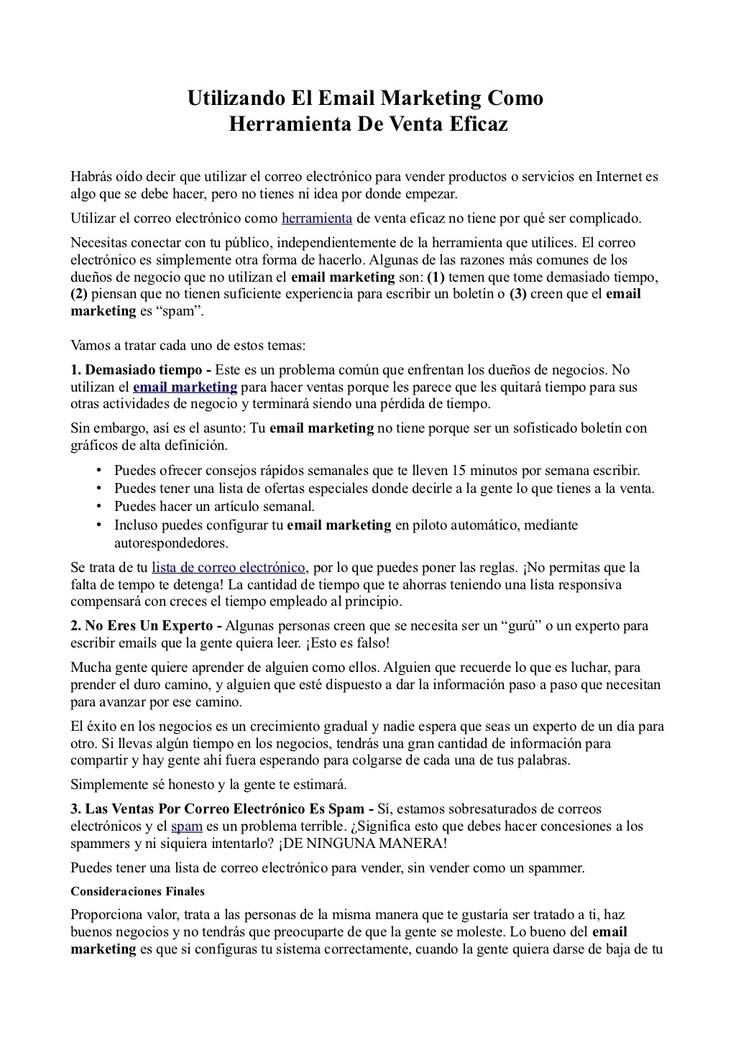 Utilizando El Email Marketing Como Herramienta De Venta Eficaz by - email marketing resume