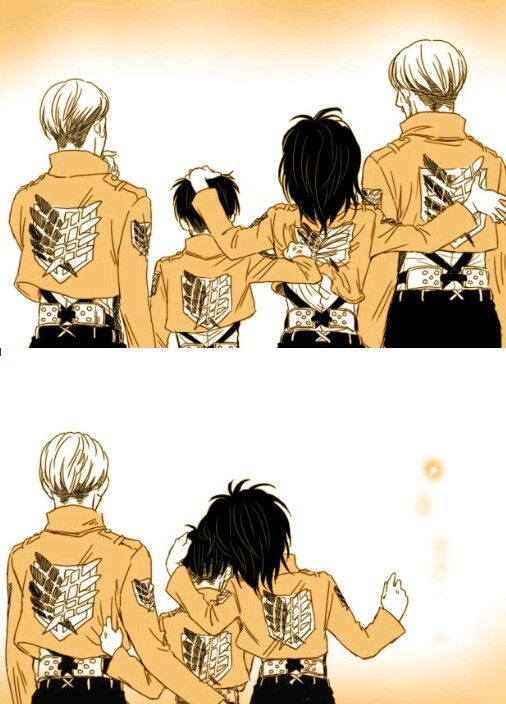 SNK Holding On - Erwin, Levi, Hanji and Mike. To bad he.... Uhhhh