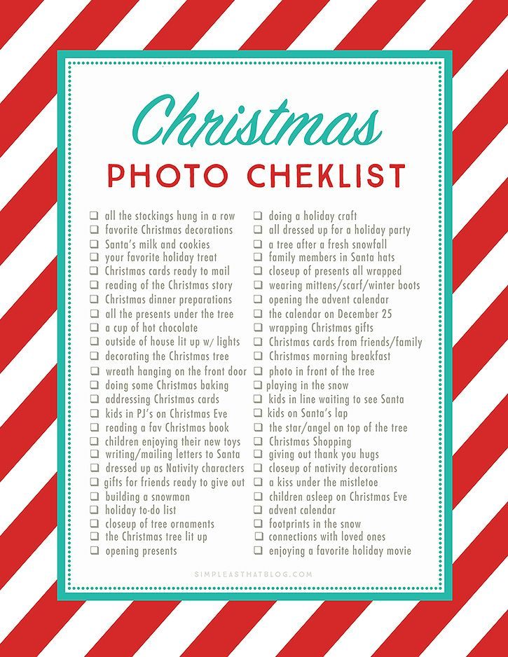 Christmas Photo Checklist Click the link above to download the Christmas Photo Checklist. Please note that all downloads from Simple as That are free for personal use only. If you're new here be sure to give us a follow on Instagram, Facebook and Pinterest for the latest projects and free downloads from Simple as That!