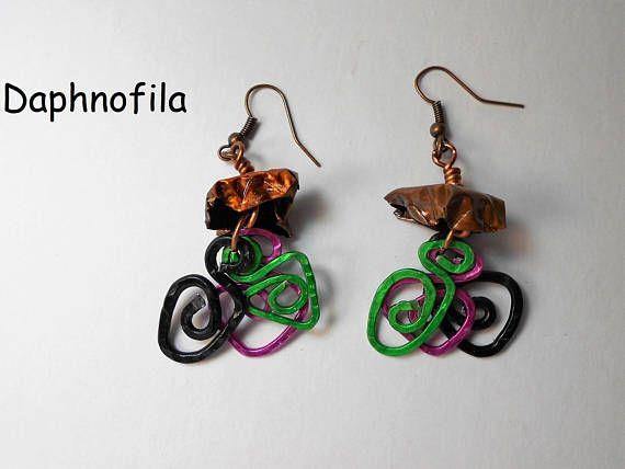 Meander earrings Fuxgreen and black meander Copper earings