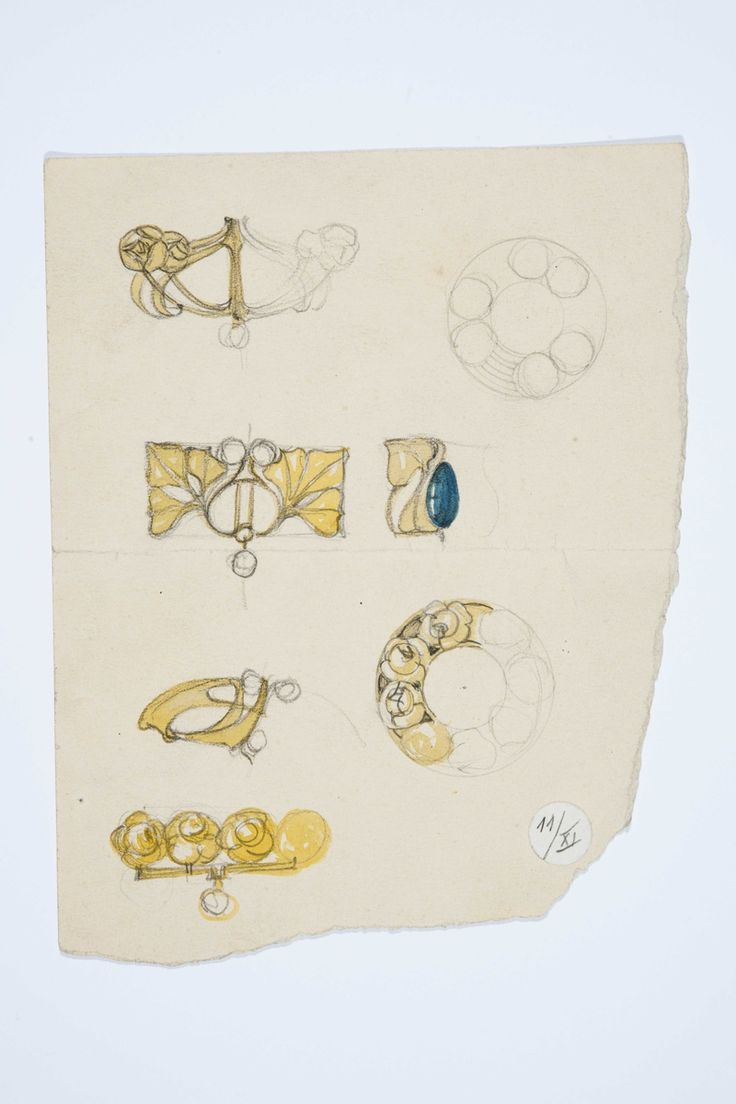 Gustav Gaudernack pencil/watercolor sketches for six gold or gilt silver brooches in stylized flower design, four with pearls and one with green cabocon stone Tegning @ DigitaltMuseum.no