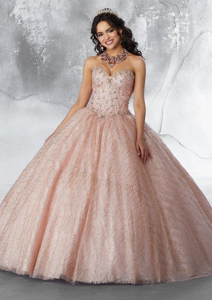 Strapless Glitter Quinceanera Dress by
