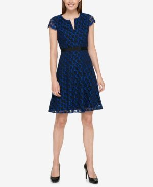 Tommy Hilfiger Cap-Sleeve Lace Fit & Flare Dress - Blue 16