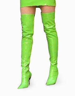 Stivali sexy alla coscia da balletto verdi con piattaforma
