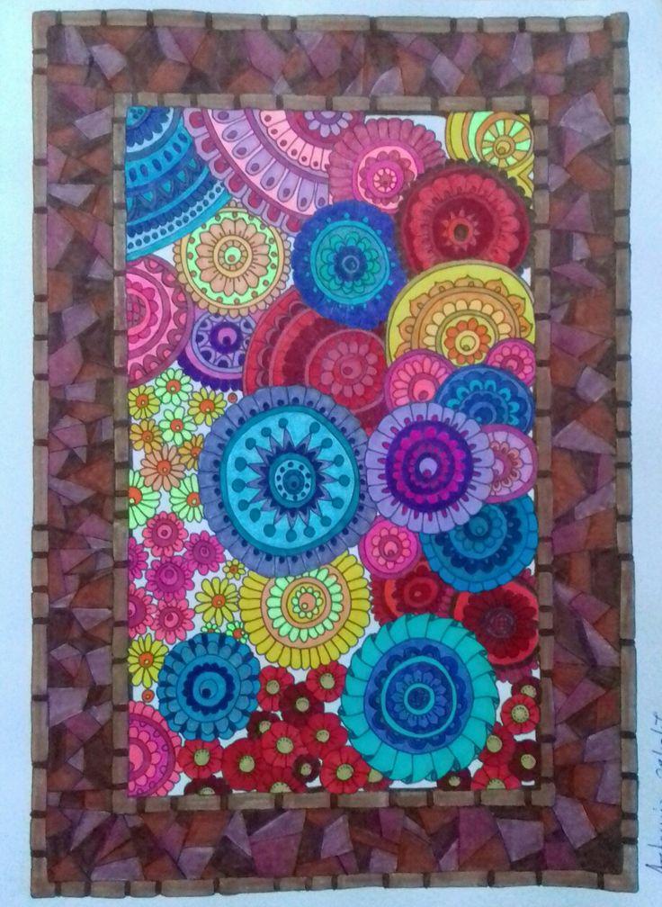 Week 70, Zen doodle designs by Angela Porter, coloured by Artemis Anapnioti.