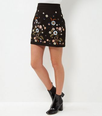 Black Floral Embroidered A-Line Skirt  | New Look