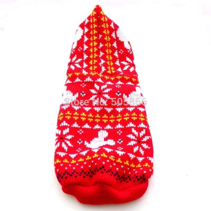 Красный рождество собака свитер пиджак с снег-бесплатная хлопья дизайн, Pet одежды пальто, 5 размеры доступны