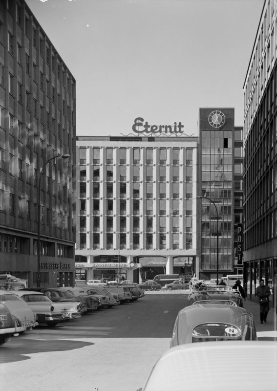 Architecture Photography of office building in Slemmestadgården, Vika, Oslo by Teigens Fotoatelier, 1958. DEXTRA Photo, CC BY