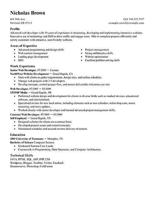 Web Developer Resume Examples Created By Pros Myperfectresume
