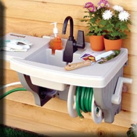 Instant outdoor sink- no plumbing required. Perfect for the back yard for