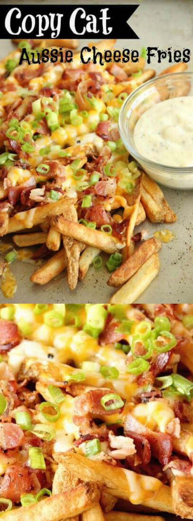 These Copycat Aussie Cheese Fries from Diary of a Recipe Collector are LOADED with cheese, BACON and make an excellent side dish, appetizer, or snack idea!