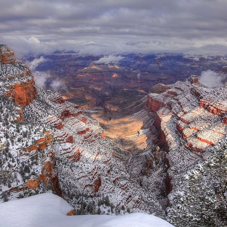 Snow coats the #GrandCanyon in this gorgeous winter photo from a few years ago. For spectacular views of this geologic wonder, take Desert View Drive -- a scenic 25-mile route on the #SouthRim of #Arizona's Grand Canyon #NationalPark. Photo from @grandcanyonnps's Pipe Creek Vista by Jeremy Evans (www.sharetheexperience.org). #findyourpark #usinterior
