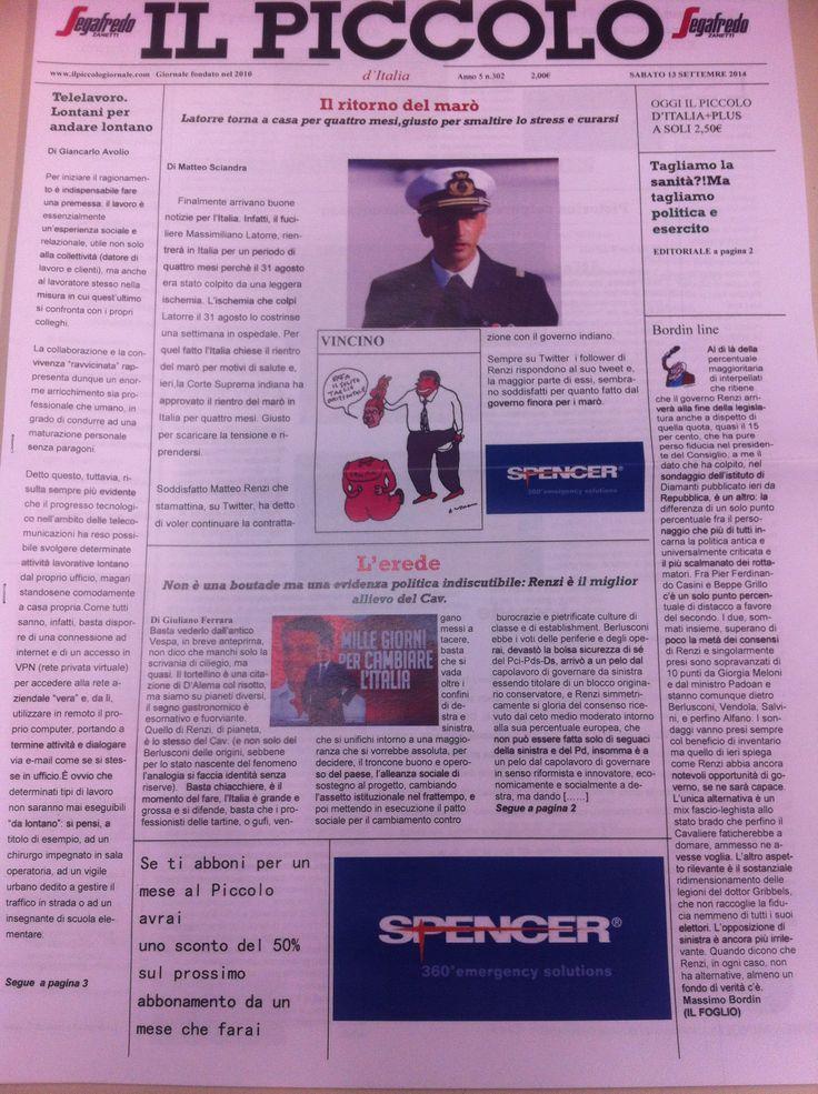 La prima pagina del quotidiano di oggi,13 settembre