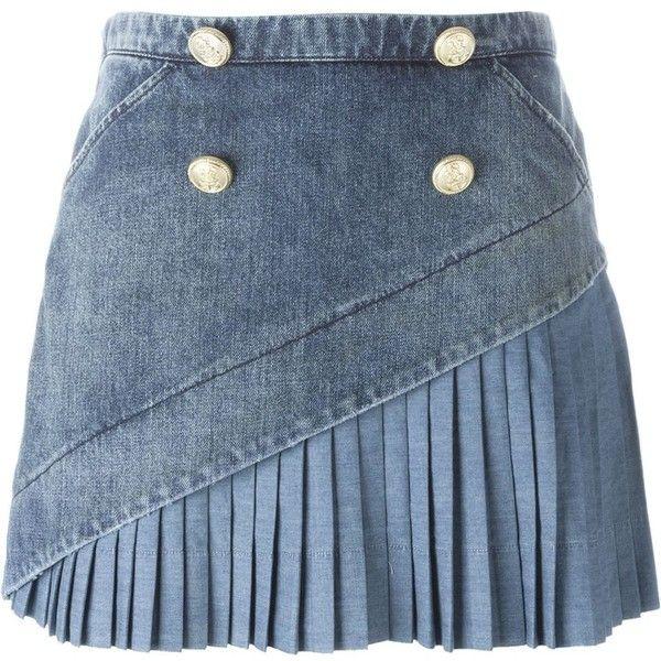 Nº21 Denim Mini Skirt ($389) ❤ liked on Polyvore featuring skirts, mini skirts, bottoms, faldas, blue, blue skirt, denim miniskirt, denim skirt, blue denim skirt and short skirts