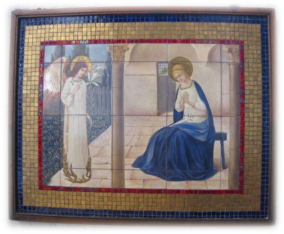 The annunciation. Religious church art. St Mary's church, Purton, England