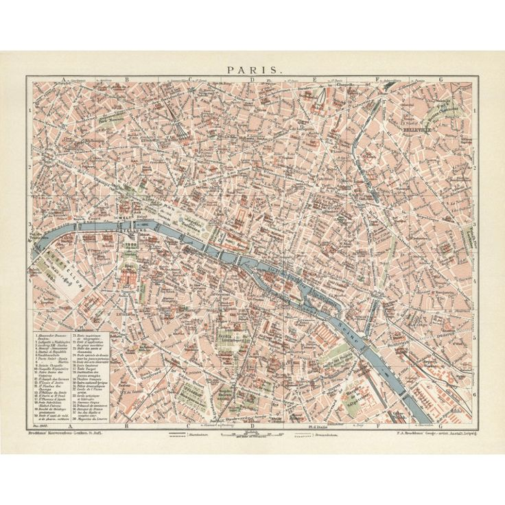 Vintage map reproduction of Paris. Handmap paper print. Old map poster of Paris.