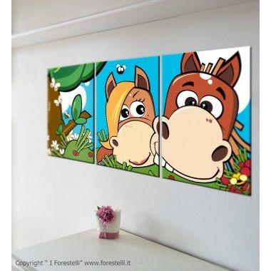 Quadretto componibile con i due cavallini dei forestelli. Una stampa su tela originale per arredare o decorare la cameretta dei bambini