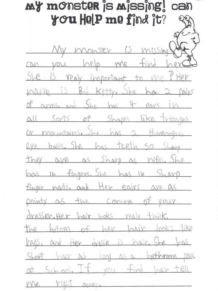 best descriptive writing activities ideas  others students have to the monster this child was writing about using the descriptive words they used edit and theme is