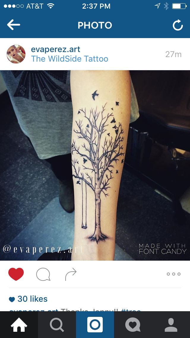 Tree tattoo swing birch birds creepy