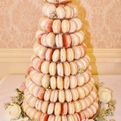 Wedding Cakes   Sylvia's Kitchen Macarons tower comprising 200 macaron of ivory, pale pinks and silvers with silver leaf, all almond flavour shells with white Belgian couverture chocolate ganache filling and Raspberry & Chambord whipped buttercream filling