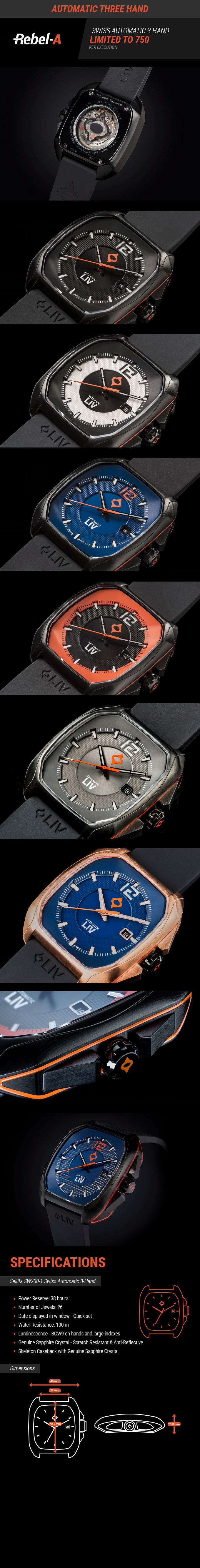 Rebel, a SWISS MADE Automatic Chronograph timepiece, LIMITED EDITION. Assembled by HAND from the finest materials.