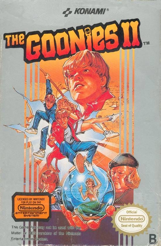 """Box art for """"Goonies II,"""" an adventure-platformer based on the """"Goonies"""" movie that was released by Konami for the Nintendo Entertainment System in 1987."""