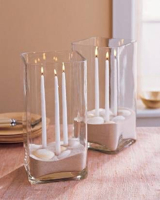 Candles in sand for center pieces decorations