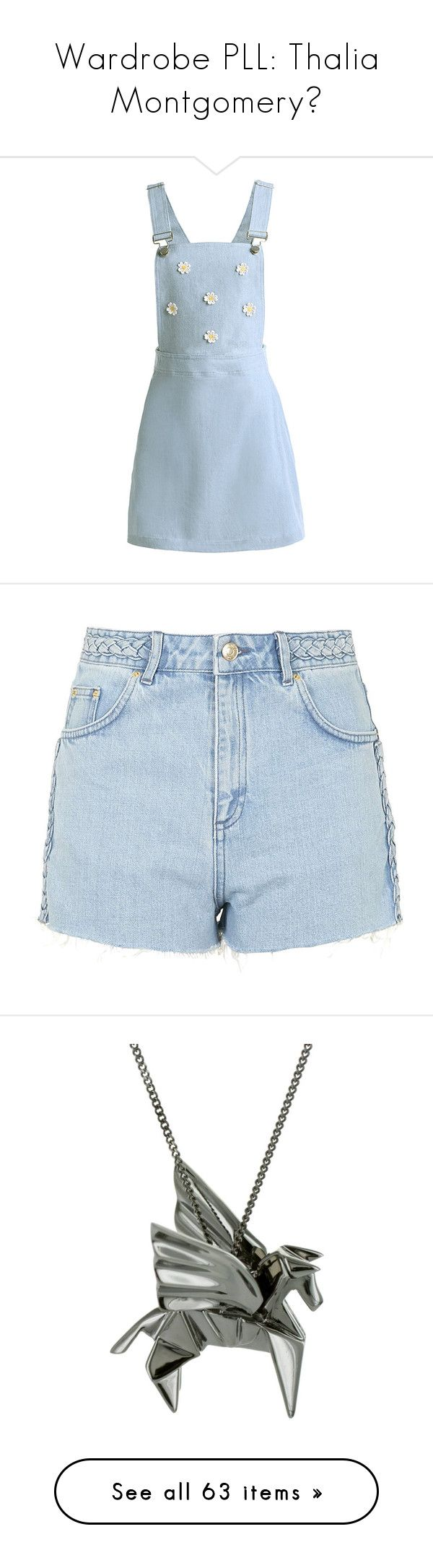 """""""Wardrobe PLL: Thalia Montgomery💋"""" by moon-crystal-wolff ❤ liked on Polyvore featuring dresses, shorts, bottoms, clothes - shorts, topshop, bleach, jean shorts, topshop shorts, bleached jean shorts and cotton shorts"""
