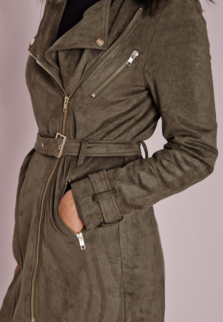 Missguided - Longue veste en faux daim vert kaki