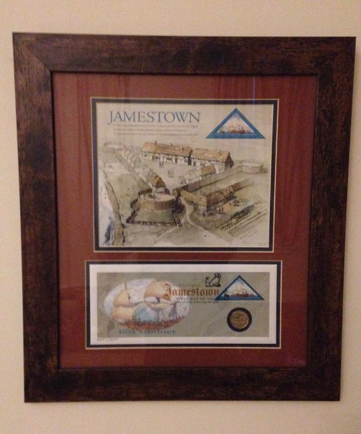 Framed 100th Anniv. Jamestown Picture w Commemorative Stamp & Virginia…
