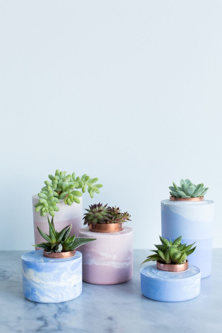 Try This Super-Simple DIY: Marbled and Ombre Concrete Planters