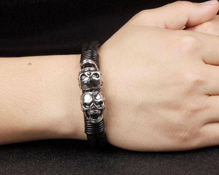 Trendy double skulls stainless steel leather bracelet. Punk design.