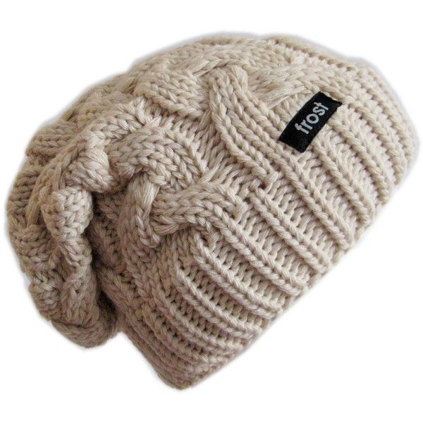 Frost Hats Winter Hat for Women BEIGE Slouchy Beanie Cable Hat Knitted... ($18) ❤ liked on Polyvore featuring accessories, hats, beanie, cable knit beanie hat, slouch hat, beanie cap, saggy beanie and beanie hat
