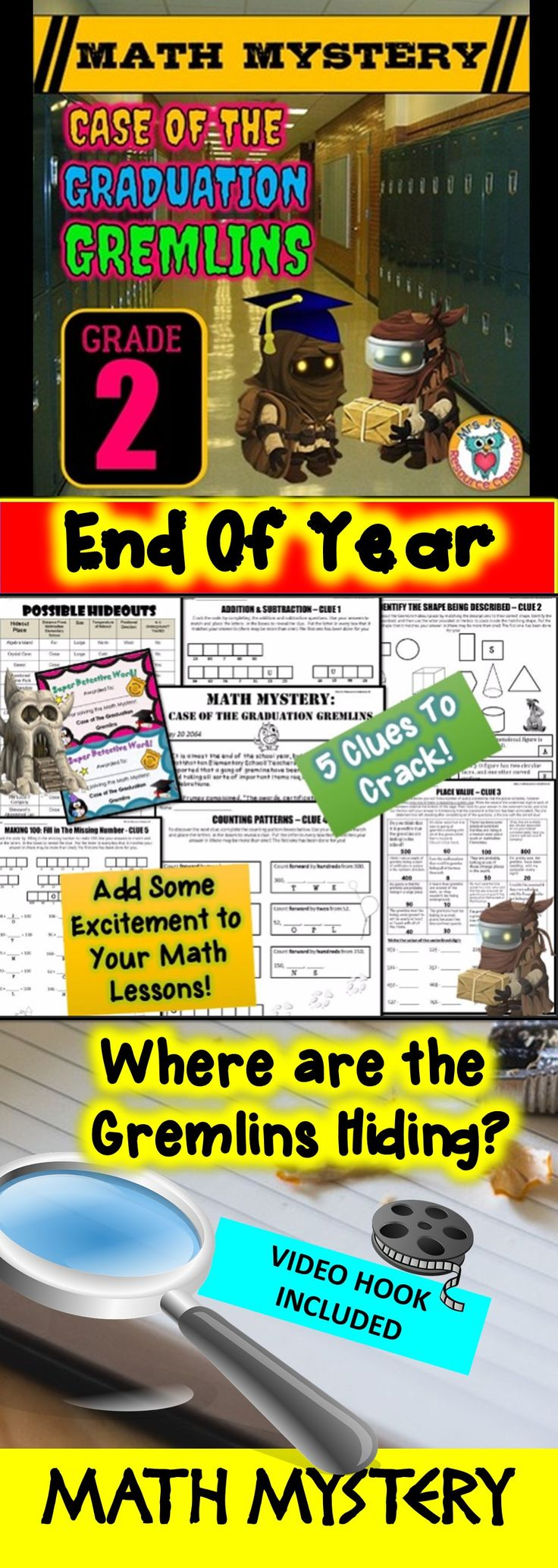 End of Year Math Mystery: Case of The Graduation Gremlins - Second Grade Version.Fun math review activity!