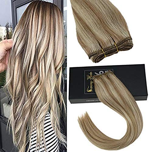 Enjoy exclusive for Sunny Hair Wefts Human Hair Ash Blonde Mixed Blonde Hair Extensions Human Hair Sew In Remy One Bundle 100g 24inch online