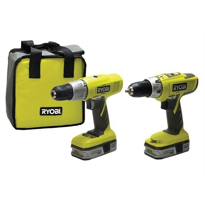 Ryobi LCDI1802 Hammer Drill And CDC1802 Drill Driver 18 Volt Twinpack