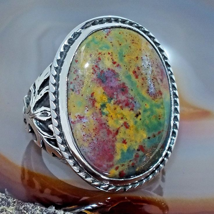 Bloodstone Ring Unique Sterling Silver 925 handcrafted Mens Jewelry Sz 10.25 #Handmade