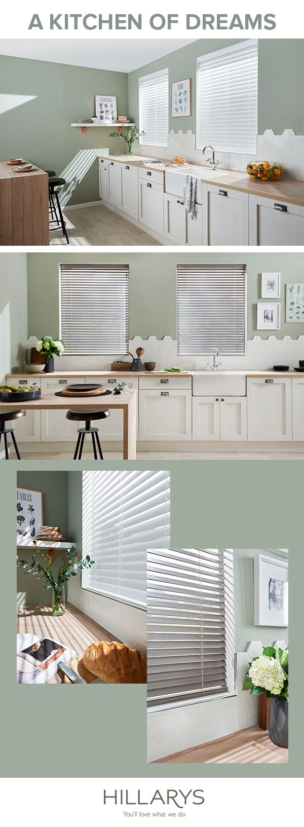 Dreaming of upgrading your kitchen? Make it a reality but don't forget the finishing touches with our extensive range of blinds, curtains or shutters.