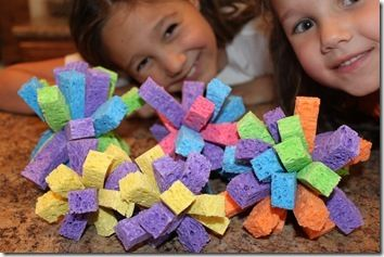 Make sponge balls (great for art or sensory experience). Very simple to make! (Cut various coloured sponges into quarters, put 12 pieces together and tie at the centre with strong string or a zip tie.)